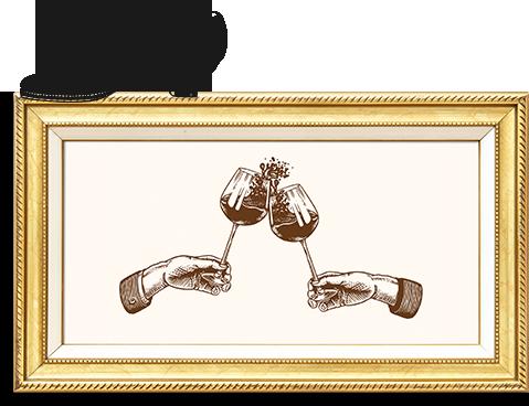 Zwei Weingläser in einem goldenen Bilderrahmen mit einem Schuh obendrauf