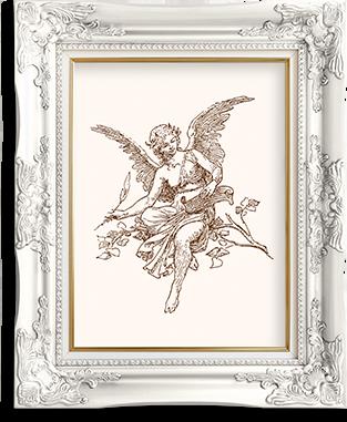 Ein Engel in einem verzierten Bilderrahmen