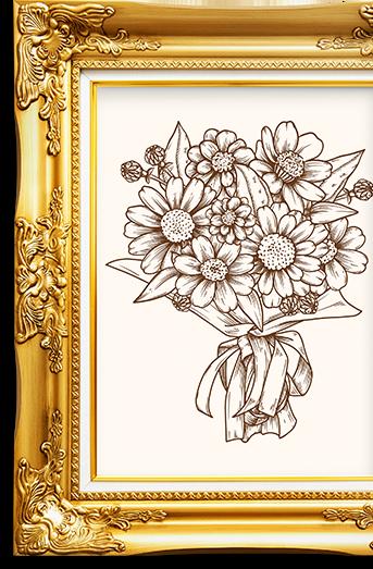 Blumen in einem goldenen verziertem Bilderrahmen