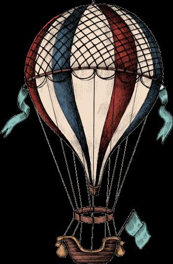 Illustrierter Heißluftballon
